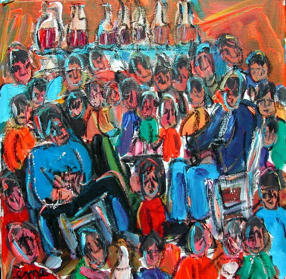 Réunion de famille. Acrylique sur toile 30x30. dans ACTUALITES Reunion-de-famille-acrylique-sur-toile-30x30
