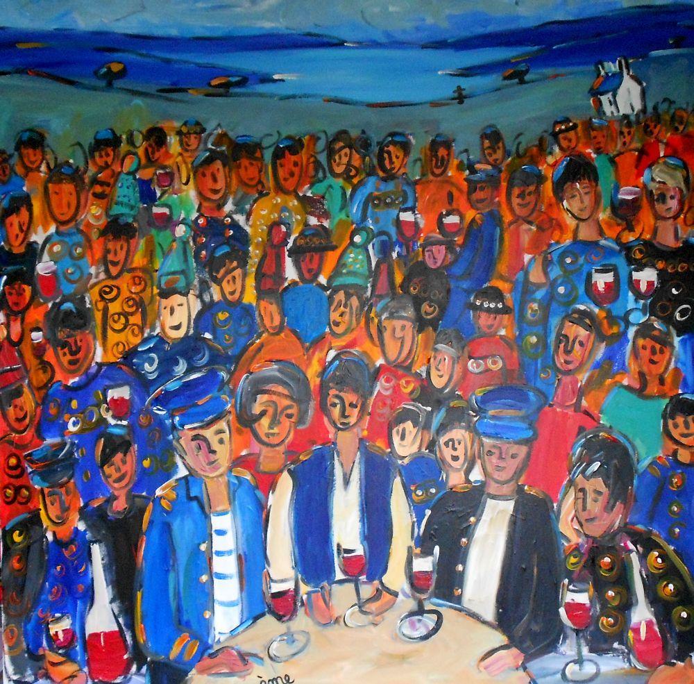 Les gens bretons. Acrylique toile 100x100. dans ACTUALITES les-gens-bretons-100x100