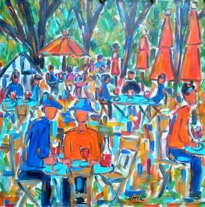 Les tables bleues. Acrylique sur toile. 80x80 dans ACTUALITES les-tables-bleues-80x801-297x300
