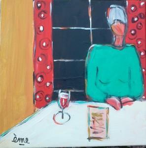Dame au verre de vin et à la fenêtre. 30x30. Acrylique sur toile dans ACTUALITES 2013-11-17-11.51.44-1-296x300