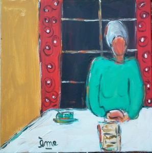 Dame à la tasse et à la fenêtre. 30x30. Acrylique sur toile. dans ACTUALITES 2013-11-17-11.51.51-1-298x300