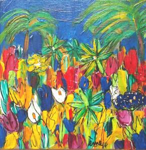 Jardins 20x20 acrylique toile