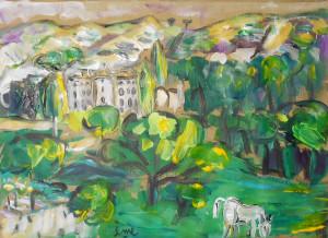 Impression Sainte Victoire 15.5x21 acrylique sur papier