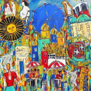 Wien impressions 80x80 acrylique toile